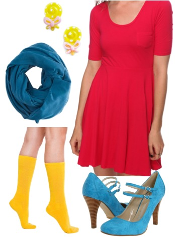 Dylan's Candy Bar-inspired outfit 2: Dress, pumps, bright socks
