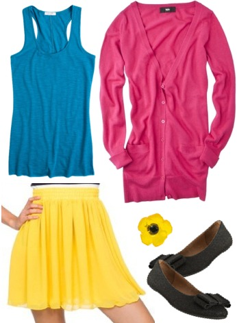 Dylan's Candy Bar-inspired outfit 3: Bright tank, chiffon skirt, cardigan