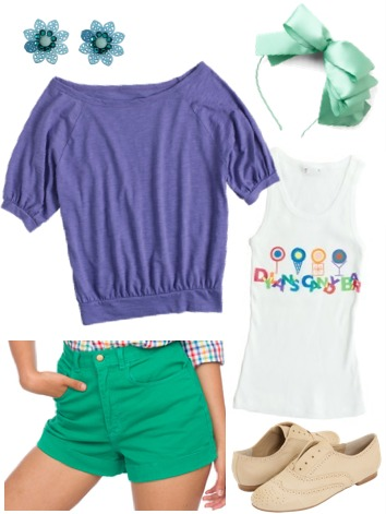 Dylan's Candy Bar-inspired outfit 4: Tank, oversize tee, high-waisted shorts