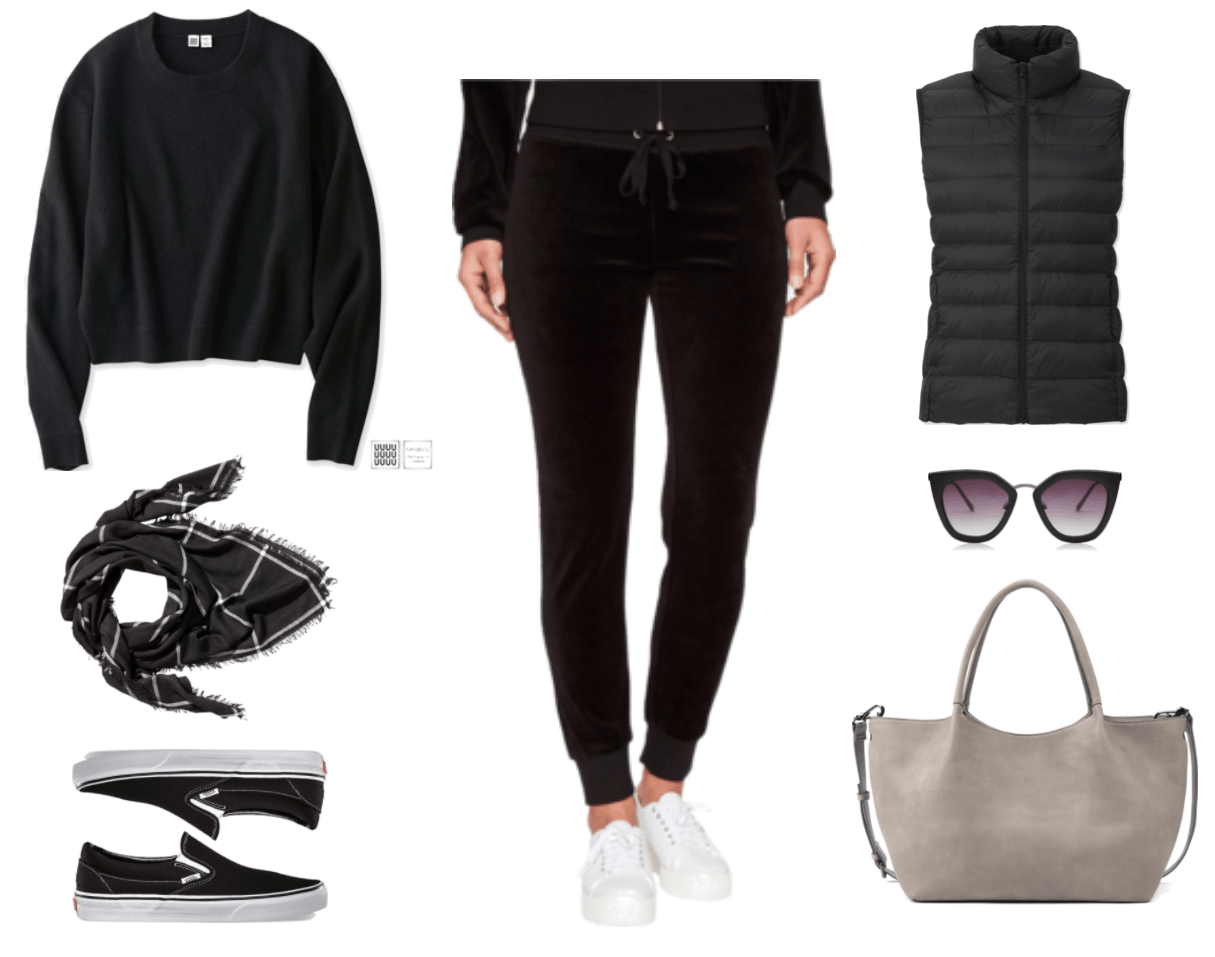 Black crewneck sweater, black square scarf with thin white check pattern, black Vans slip-on sneakers with white details and soles, black velour skinny-leg track pants, black ultra-light down vest, black cat-eye sunglasses with metal bridge and purple ombré lenses, light gray slouchy tote with cross-body strap