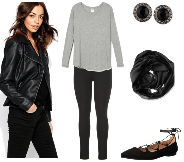 Ease into a leather jacket with a go-to combo