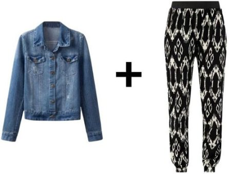 Easy outfit formula denim jacket and printed pants