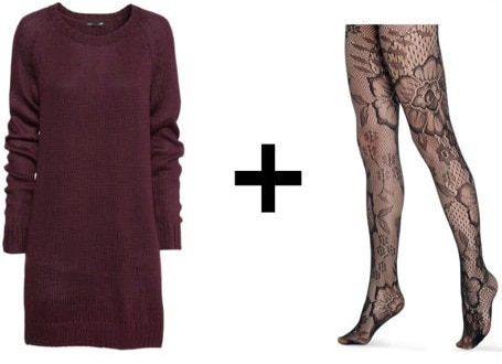 Easy outfit formula sweater dress patterned tights