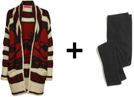 Easy outfit formulas oversized cardigan + leggings