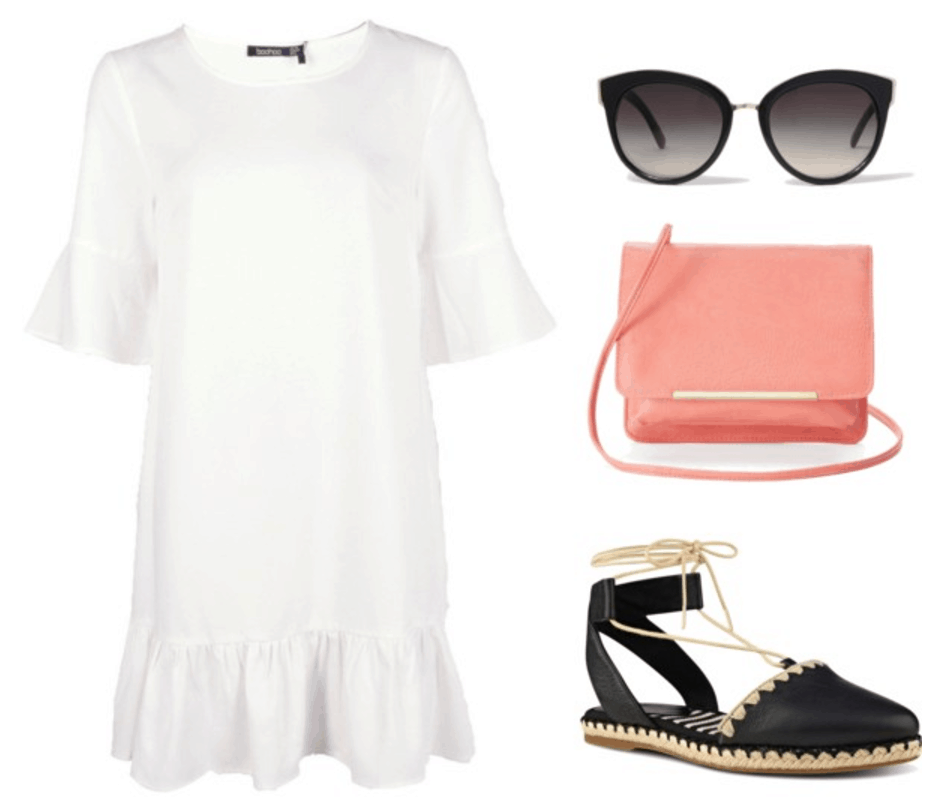 White dress, espadrilles, orange bag, sunglasses.