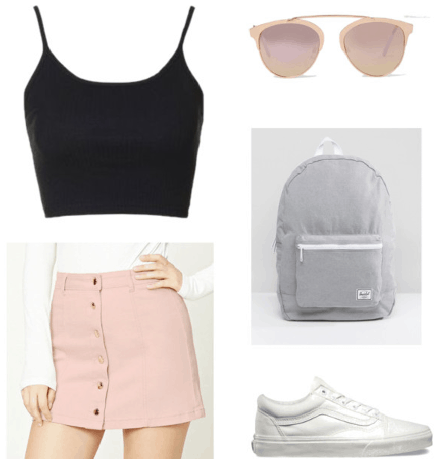 Summer outfit idea: Black tank, pink denim skirt, gray backpack.