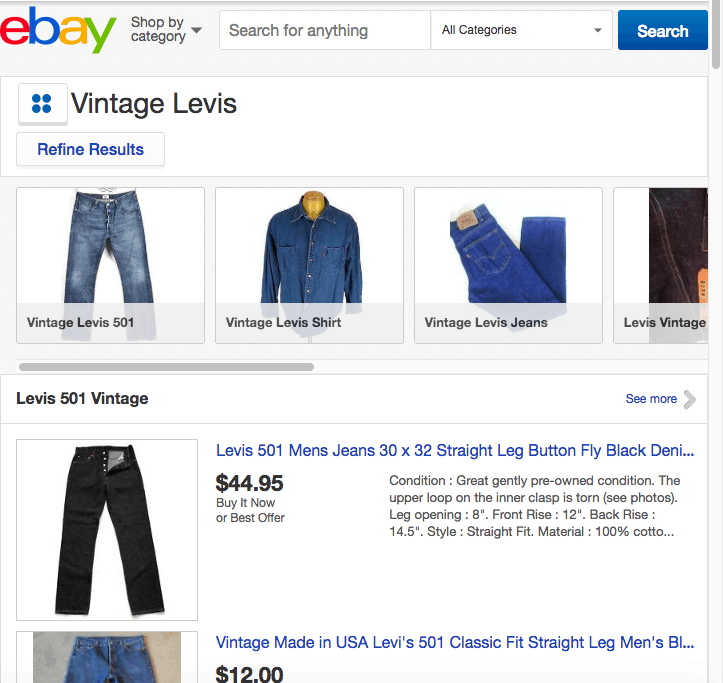 Photo of eBay search page.