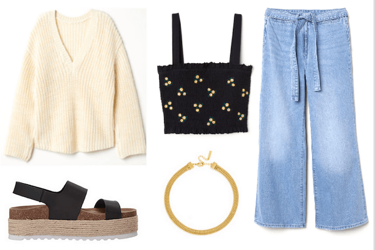 Edgy and artsy summer outfit with black sandals, wide leg jeans, choker necklace, printed crop top, oversized sweater