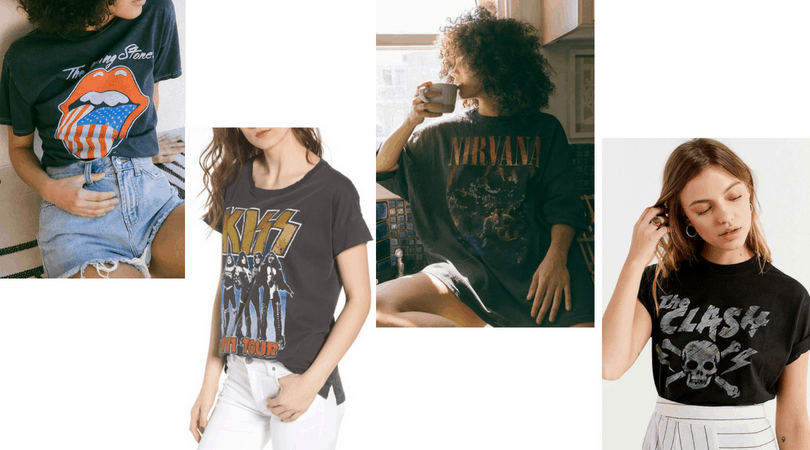 Edgy band tees - Rolling Stones, KISS tee, Nirvana tee, The Clash tee