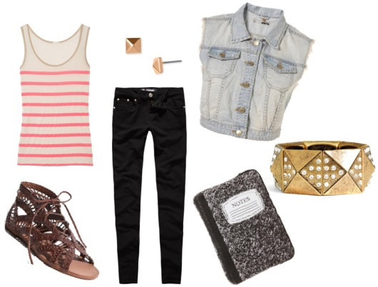 Edgy denim vest outfit