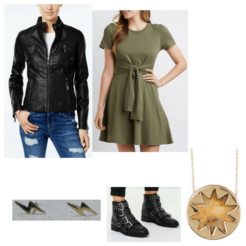 Edgy finals outfit with leather jacket, t-shirt dress, studded booties, big necklace, and bolt earrings