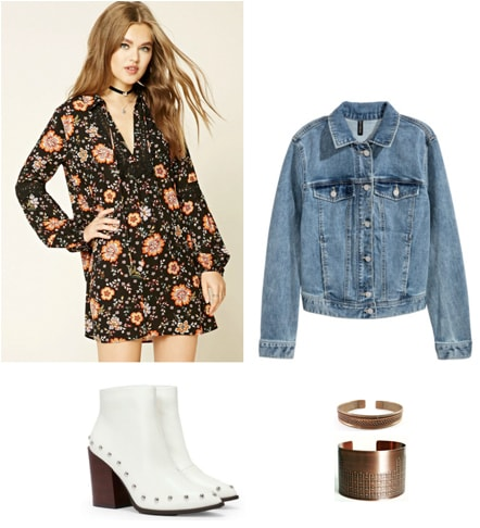 Edgy spring outfit idea: Floral dress, oversized jean jacket, white ankle boots, cuff bracelets