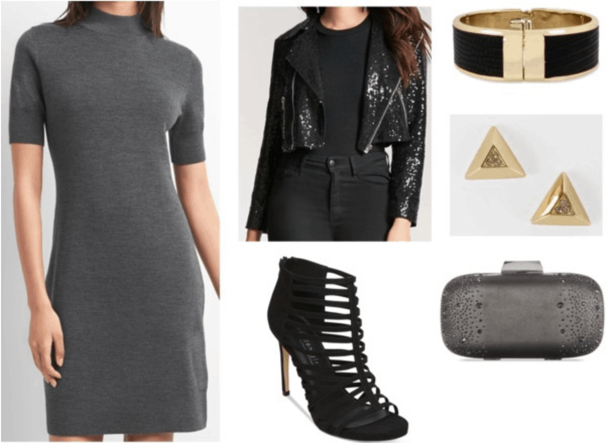 edgy grey dress outfit gray dress sequin moto jacket gold and black cuff gold pyramid earrings black cage heels embellished clutch