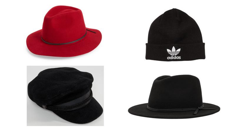 Edgy hats: Red fedora, Adidas beanie, Black fedora, baker boy cap