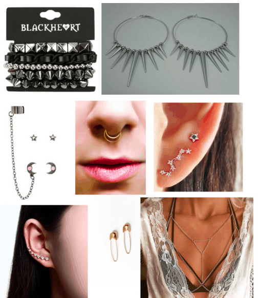 Edgy style: A variety of earrings, a bracelet, a septum ring, and a body chain