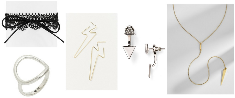 Edgy jewelry: Lace choker, silver ring, lightning bolt earrings, ear jackets with triangles, triangle lariat necklace