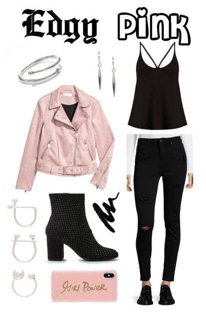 Arm cuff, pink moto jacket, ring set, studded boots, liner, drop earrings, tank top, black skinny jeans, phone case