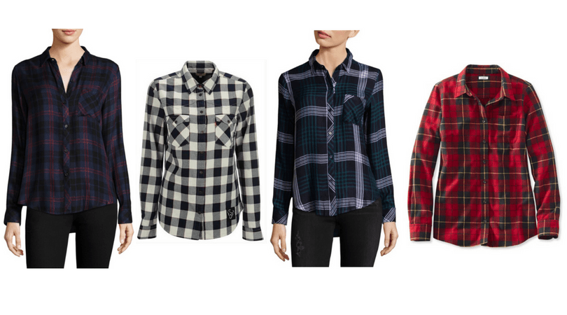 Edgy style must haves: Plaid shirts in purple, black and white buffalo check, navy plaid, and red flannel