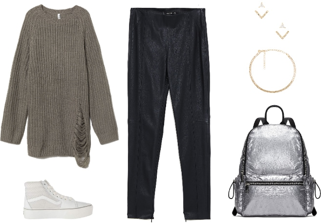 Edgy sneakers outfit: Ripped sweater, faux leather pants, edgy jewelry, metallic backpack, neutral Vans sneakers