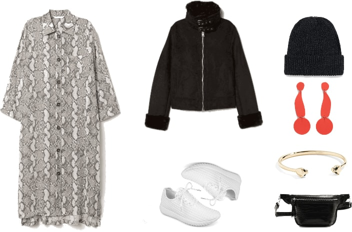 Edgy sneakers outfit: Snakeskin button front dress, white sneakers, black zip faux fur jacket, black fanny pack, red earrings, black beanie