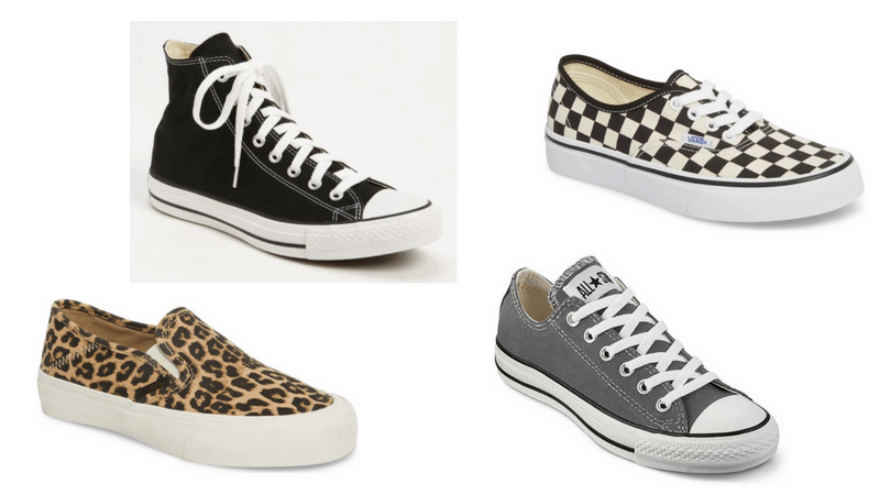 Edgy sneakers: Converse high tops, Vans checkerboard sneakers, Converse all stars in gray, leopard vans slip ons