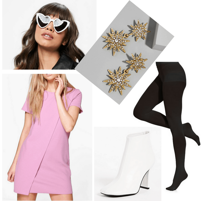 Edie Sedgwick style: Outfit inspired by Edie Sedgwick with statement earrings, white heart shaped sunglasses, black opaque tights, pink shift dress, white ankle boots
