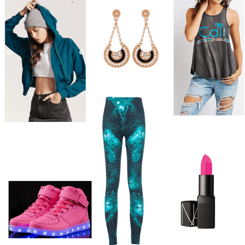 EDM-inspired outfit with hoodie, tank, graphic leggings, statement earrings, pink lipstick, and pink shoes