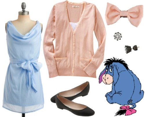 Outfit inspired by Eeyore from Winnie the Pooh - Blue dress, pink sweater, flats, bow