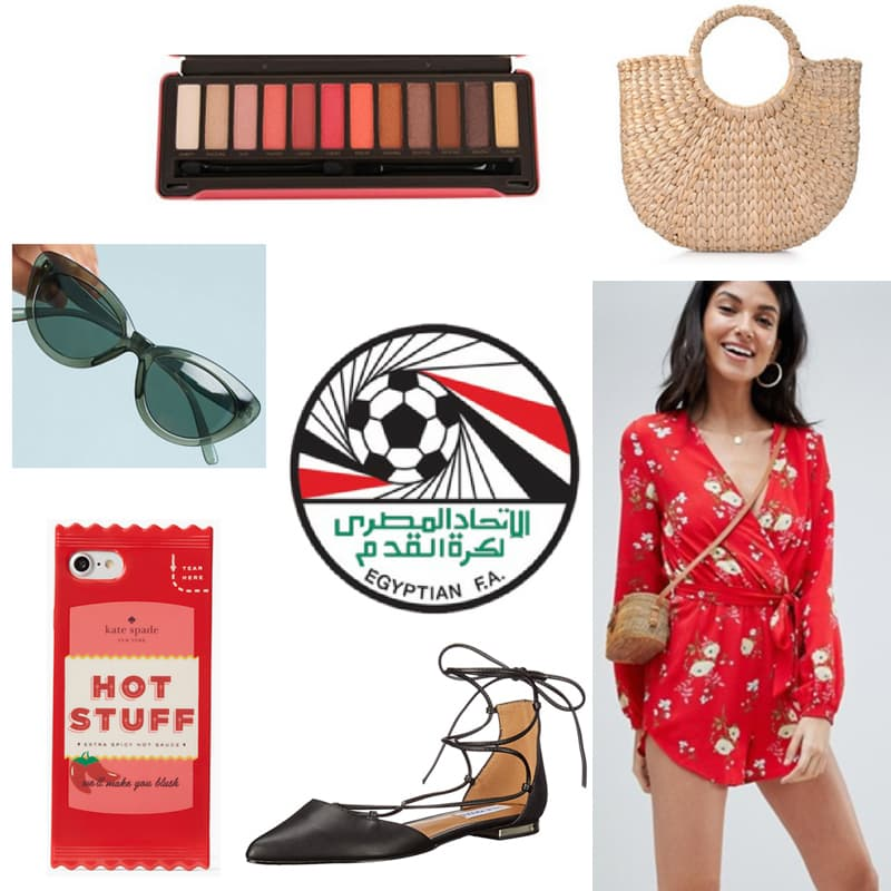 FIFA World Cup outfit inspired by Egypt - Floral romper, lace-up flats, straw bag, eyeshadow palette, Hot Stuff phone case, sunglasses