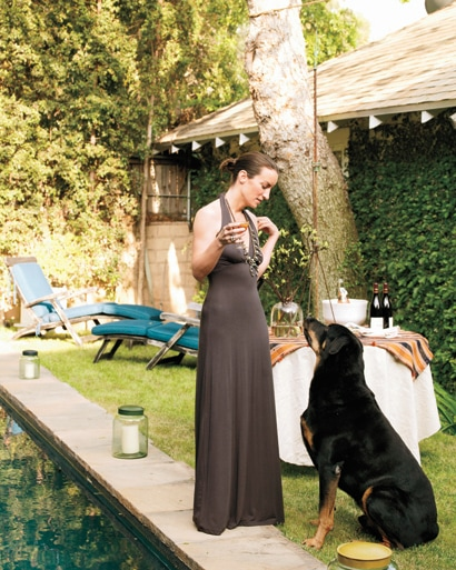 Susie Crippen and her dog at home