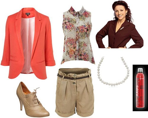 Outfit inspired by Elaine from Seinfeld: Khaki shorts, floral tank, coral blazer, lace-up oxfords