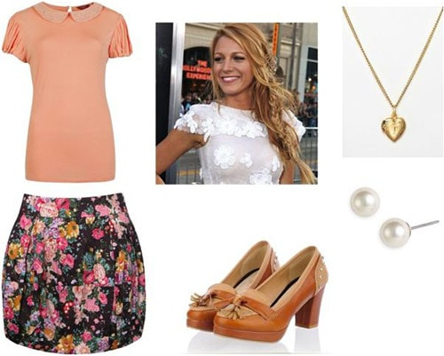 Outfit inspired by Elaine from Seinfeld: Floral shorts, pink tee, penny loafer heels, pearl earrings, simple necklace