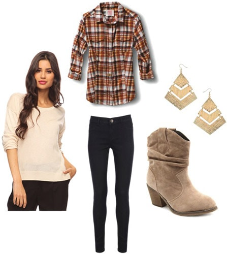 Outfit idea: Forever 21 elbow patch sweater, plaid shirt, black jeans, desert boots