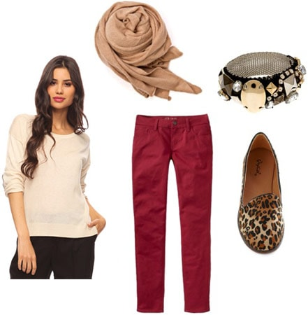 Outfit idea: Forever 21 elbow patch sweater, red jeans, leopard flats, scarf, bracelet