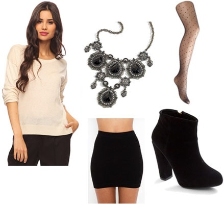 Outfit idea: Forever 21 elbow patch sweater, black bandage skirt, statement necklace, tights, ankle boots