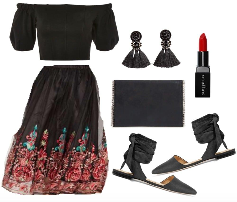 Elegant and ornate embroidered skirt set