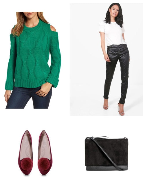 Elf-inspired outfit for the new year: Green sweater, faux leather pants, velvet loafers, suede bag