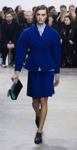 Elle blue suit runway