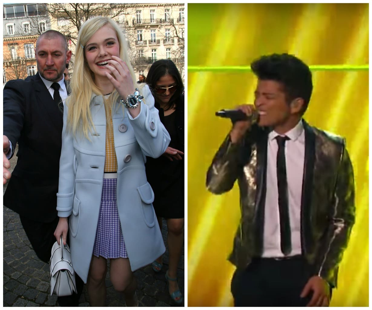 Elle Fanning in a light blue coat and checkered yellow and purple dress with a white handbag, and Bruno Mars in a gold jacket at the superbowl halftime show in 2014