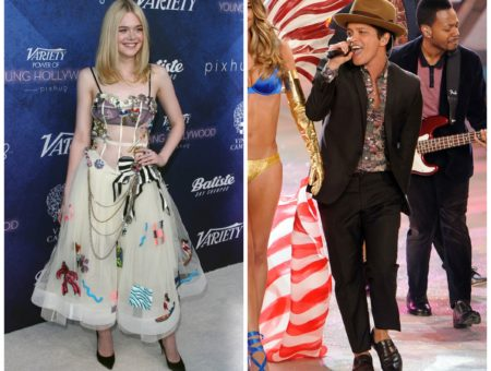 Elle Fanning in a beige tulle dress covered with patches at the Variety Young Hollywood party and Bruno Mars in a suit, hat and patterned shirt at the Victoria's Secret fashion show
