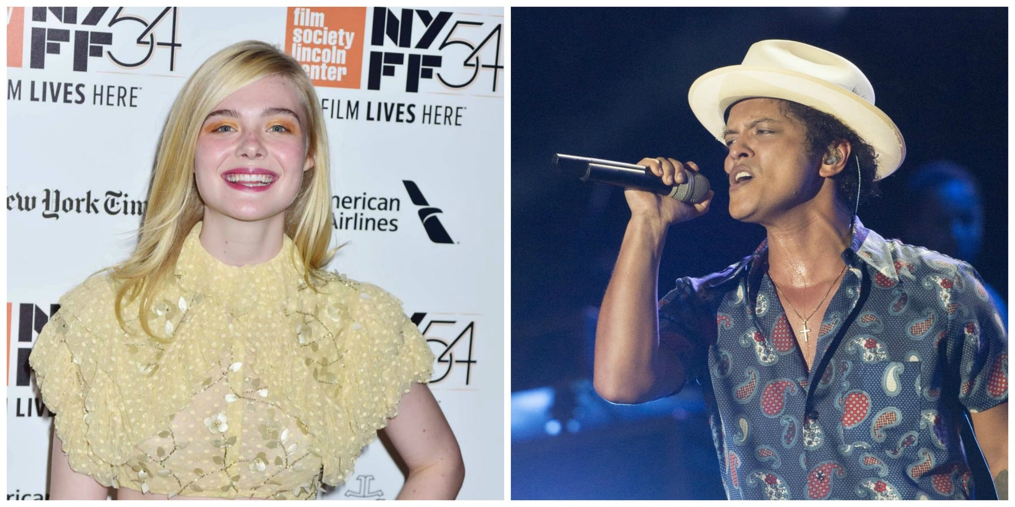 Elle Fanning in a yellow dress and Bruno Mars in a printed short sleeve shirt and straw hat
