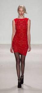 Elle red dress runway