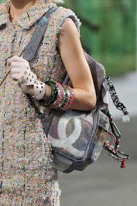 Elle runway Chanel gray backpack