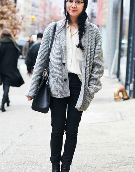 Girl in cardigan in New York