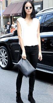 Elle white tee black jeans