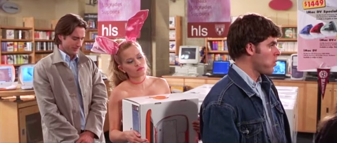 Elle Woods buying an orange iBook laptop computer at the Harvard bookstore in the movie Legally Blonde