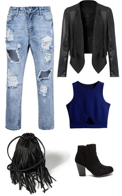 Ellie Goulding inspired outfit: Ripped jeans, crop top, leather jacket, boots