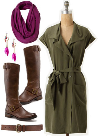 Outfit inspired by Ellie from Disney Pixar's Up: Green dress, purple scarf, motorcycle boots