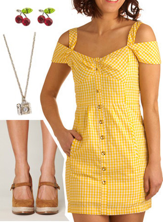 Outfit inspired by Ellie from Disney Pixar's Up: Yellow Dress, Mary-Janes, camera necklace