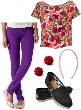 Outfit inspired by Ellie from Disney Pixar's Up: Purple jeans, floral top, TOMS